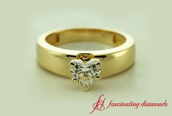 Heart Shaped Diamond Solitaire Engagement Ring In 18K Yellow Gold