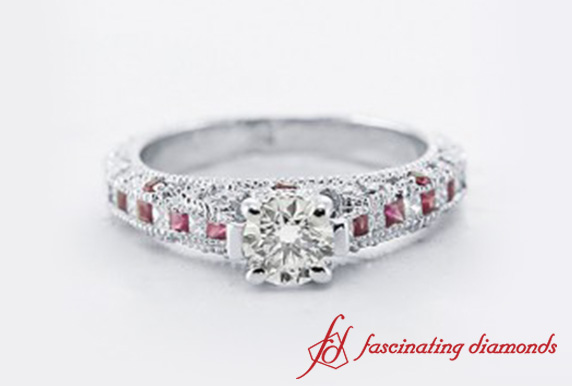 Milgrain Round Diamond Ring