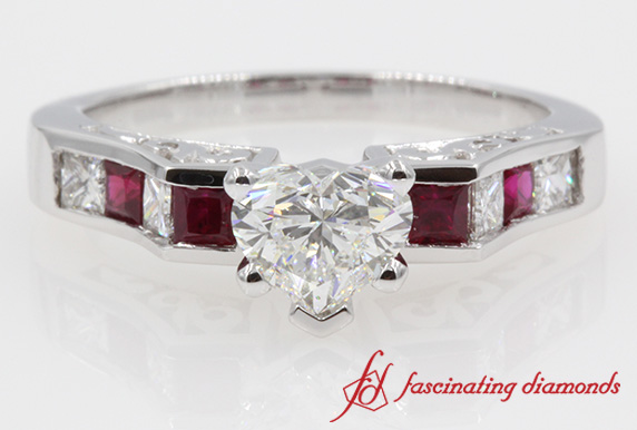 Filigree Shank Heart Diamond & Ruby Ring