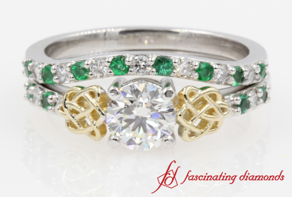 Cut Diamond Wedding Ring Sets With Green Emerald in 14K White Gold