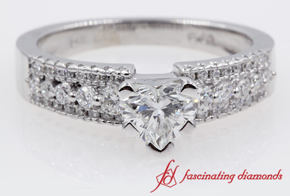 Multi Row Heart Shaped Diamond Ring