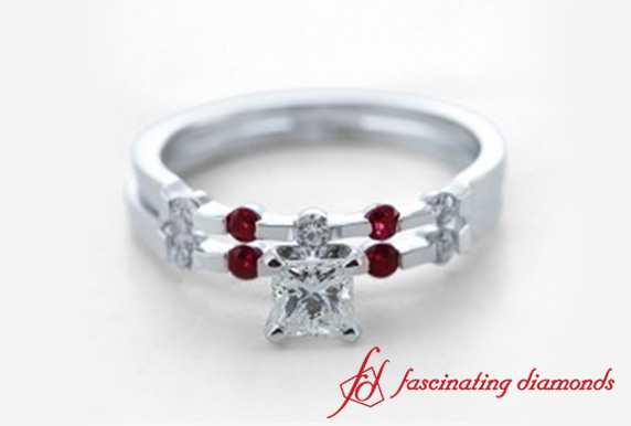 Princess Cut Wedding Ring Set With Red Ruby In 18k White Gold