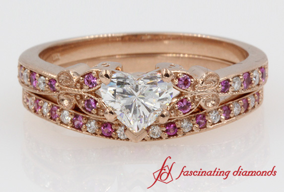 butterfly heart shaped diamond wedding ring sets with pink sapphire in 14k rose gold - Rose Gold Wedding Ring Sets