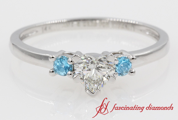 Heart Shaped Diamond With Blue Topaz Ring