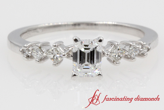 Emerald Cut Kite Set Style Diamond Ring