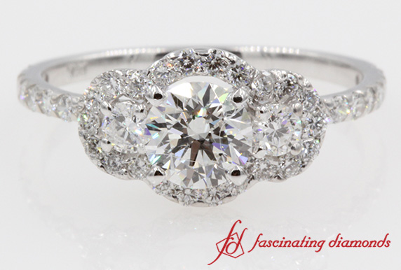 Three Stone Round Cut Diamond Ring