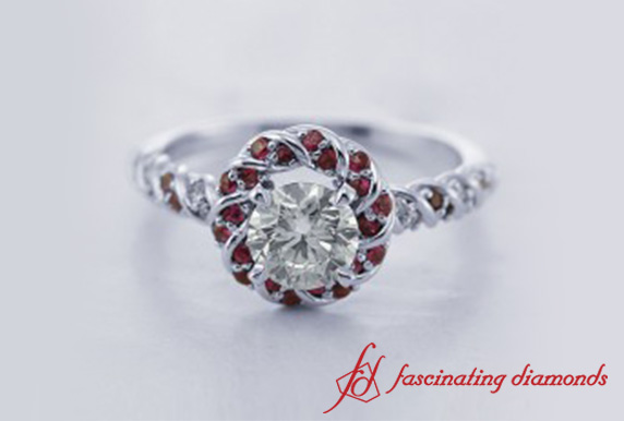 Twisted Rope Round Diamond Halo Ring