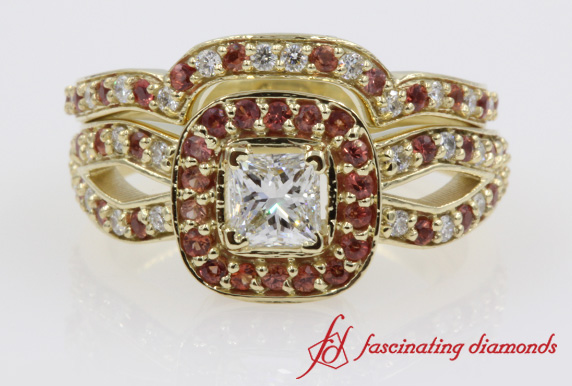 Yellow Gold Halo Engagement Ring And Band