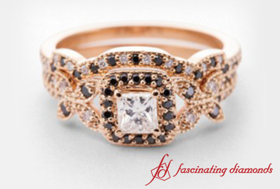 Princess Cut Diamond Wedding Ring Set With Black Diamond In 18k Rose Gold