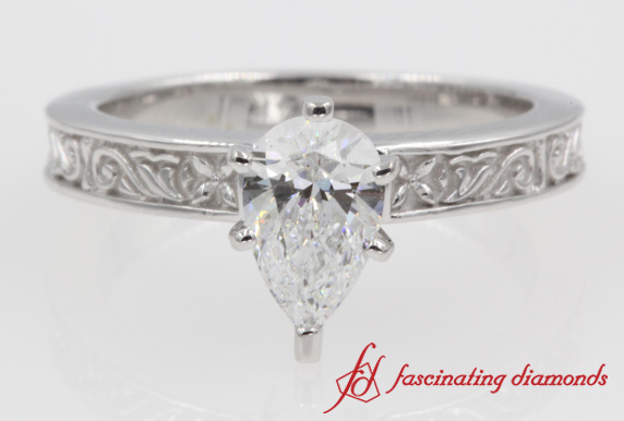 Floral Carved Solitaire Ring