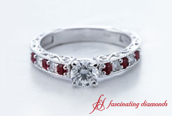 Round Cut Milgrain Diamond Engagement Ring With Ruby In 18k White Gold