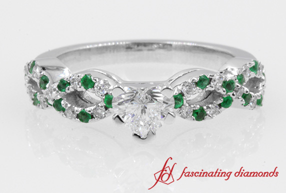 Heart Diamond & Emerald Ring