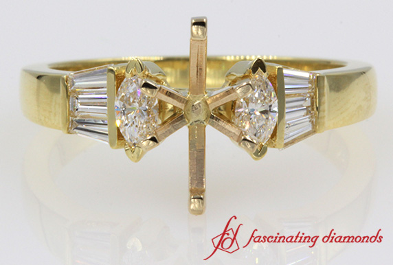 Gold Baguette Diamond Ring Setting