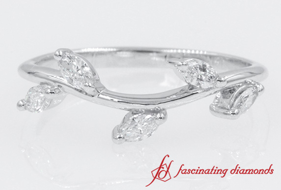 Marquise Diamond Leaf Wedding Band