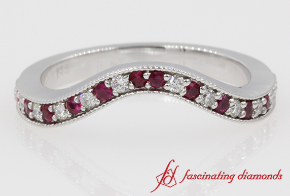 Milgrain Custom Diamond Ruby Band