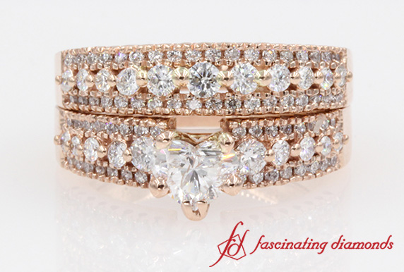 Multi row Heart Diamond Wide Wedding Ring Set in Rose Gold