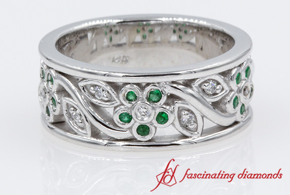 Nature Inspired Emerald Wedding Band In White Gold