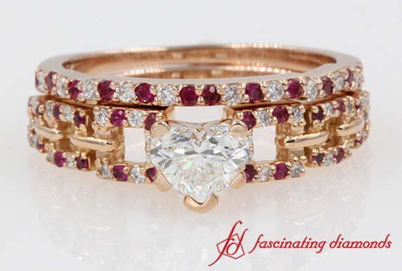 Heart Diamond With Ruby Bridal Set