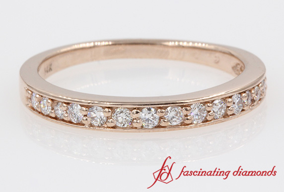 Pave Delicate Diamond Wedding Band in Rose Gold