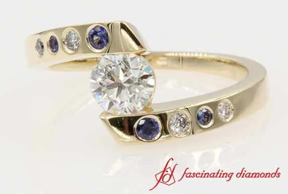Tension Set Twist Round Diamond With Sapphire Engagement Ring in Yellow Gold-FD121032RORGSA