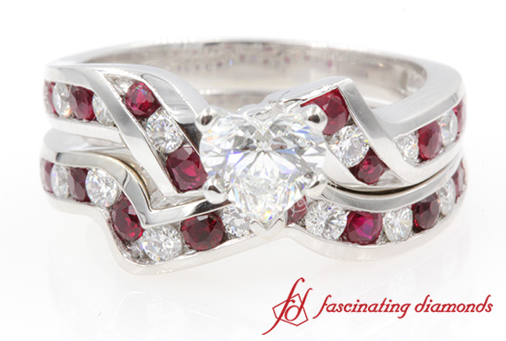 Twisted Heart Diamond & Ruby Bridal Set