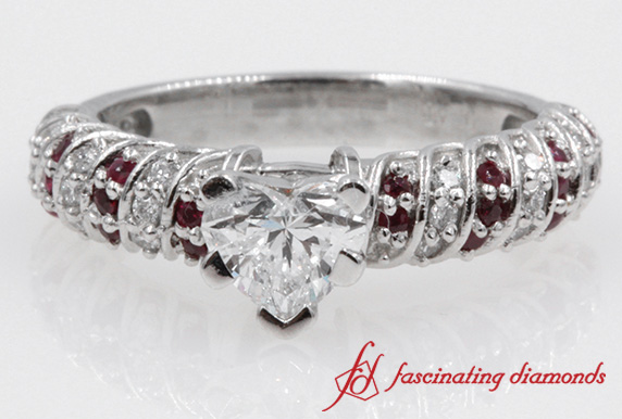 Twisted Heart Diamond & Ruby Ring
