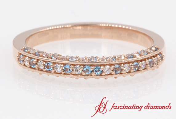 3 Side Round Diamond Blue Topaz Band