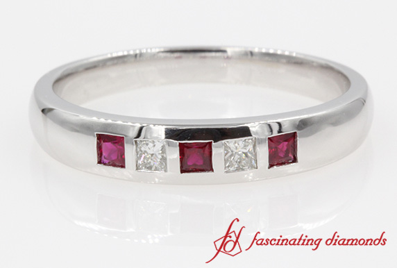5 Stone Princess Cut Diamond With Ruby Anniversary Wedding Band In White Gold