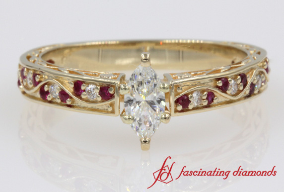 Marquise Diamond & Ruby Engagement Ring