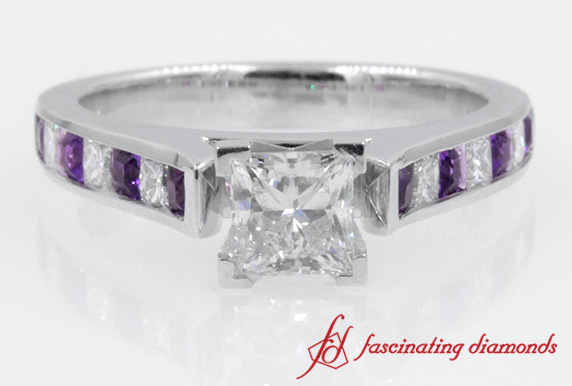 Cathedral Channel Princess Cut Diamond With Amethyst Engagement Ring in White Gold