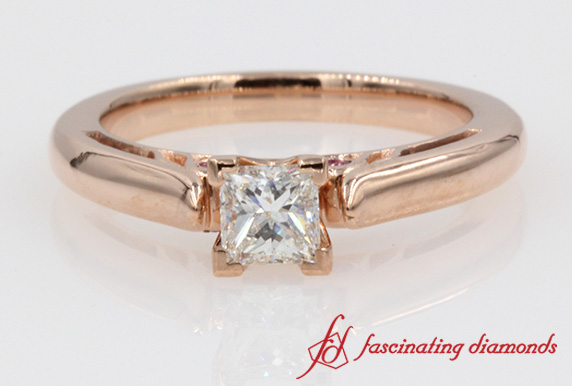 Cathedral Princess Cut Diamond With Sapphire Accented Ring In Rose Gold