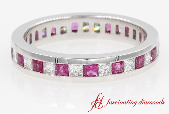 Princess Diamond & Sapphire Eternity Band