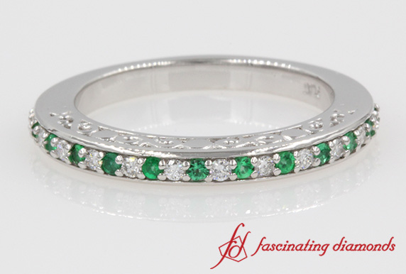 Diamond With Emerald Wedding Band Filigree In White Gold