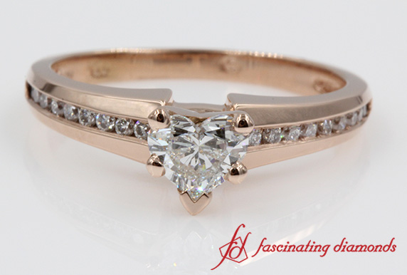 Channel Heart Shaped Diamond  Ring