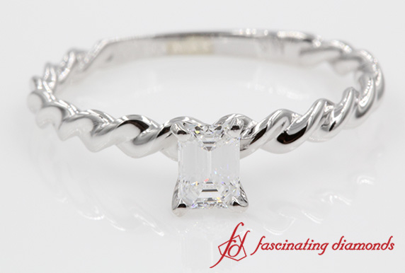 Emerald Cut Twisted Ring