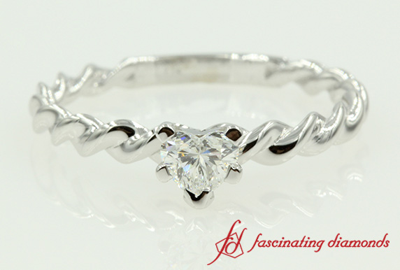 Heart Shaped Solitaire Diamond Rope Engagement Ring In White Gold