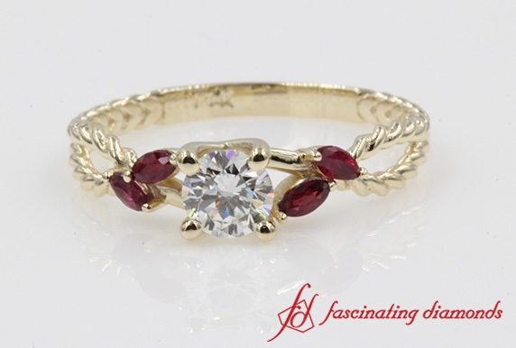 Petal Ruby Split Shank Ring