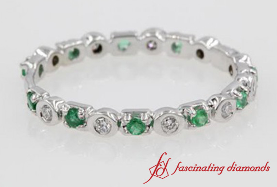 Bezel Set Emerald Band