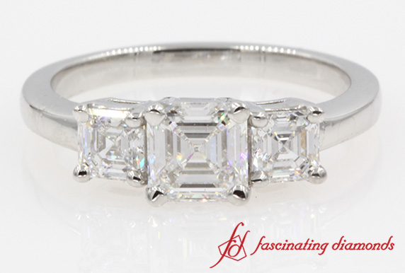 Asscher Three Stone Engagement Ring