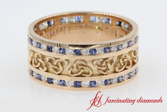 Wide Celtic Sapphire Band