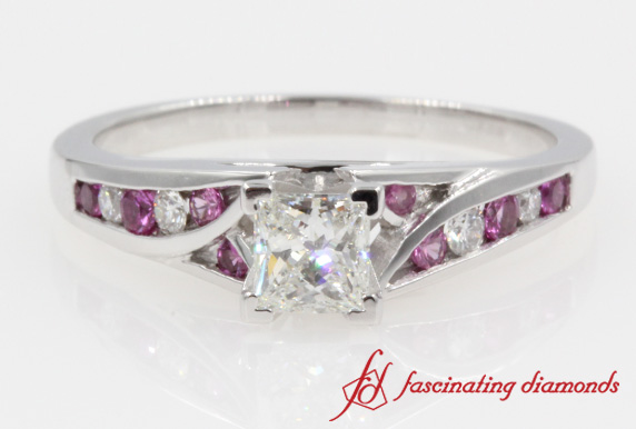 Split Channel Set Engagement Ring With Pink Sapphire In 14K White Gold
