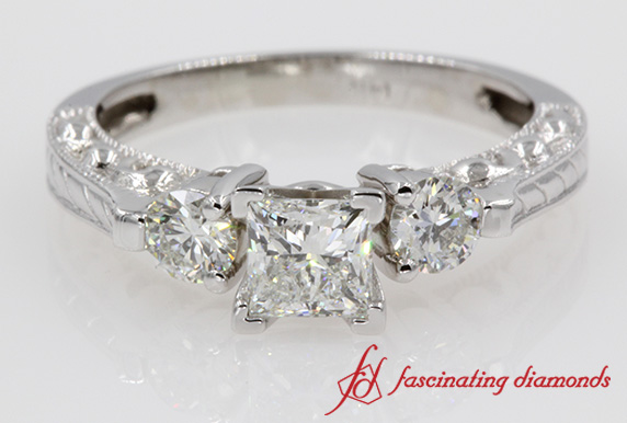Filigree 3 Stone Princess Cut Diamond Engagement Ring In White Gold