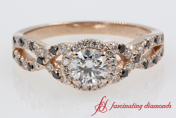 Interwoven Halo Round Diamond Ring