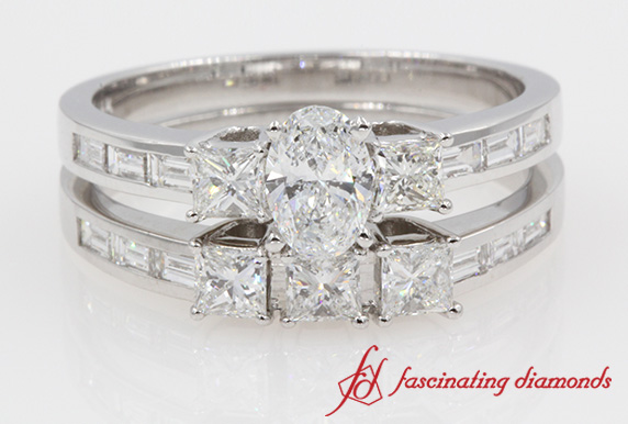 Baguette Side 3 Diamond Bridal Set