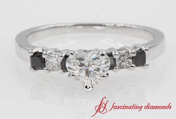 7 Stone Wedding Ring With Black Diamond