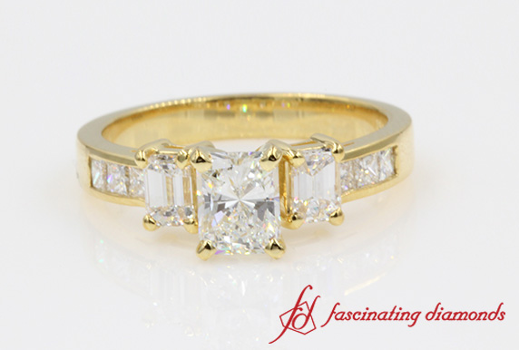 Radiant Cut Three Stone Ring