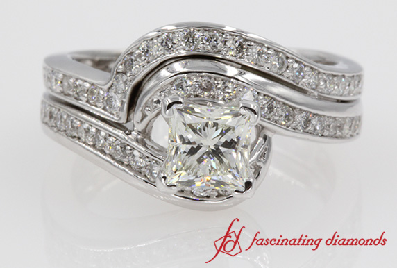Swirl Channel Diamond Ring Set