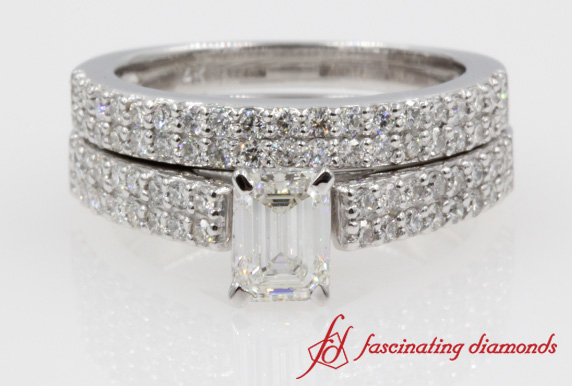 Double Row Emerald Cut Ring Set