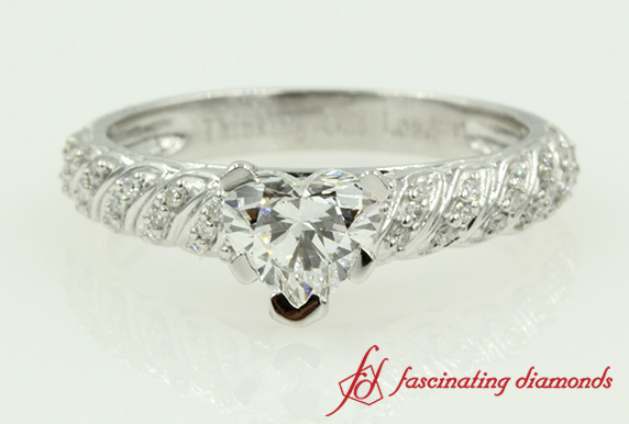Pave Rope Diamond Heart Shaped Ring