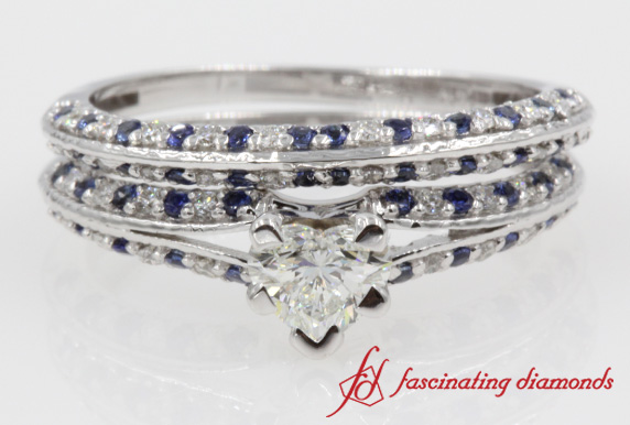 Heart Shaped Sapphire Wedding Set